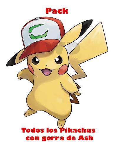 Pack De Pikachus Con Gorra Para Pokémon S/m Y Us/um +