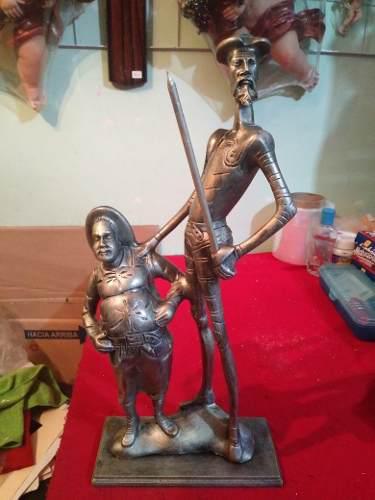 Quijote De La Mancha Y Sancho Panza,figura De Resina,45x20x9