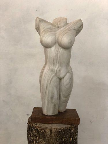 Torso Escultura De Mármol. Certificado Autenticidad.