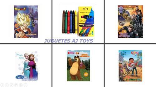 20 Libros Colorear + Crayolas Niño Niña Fiesta Regalo