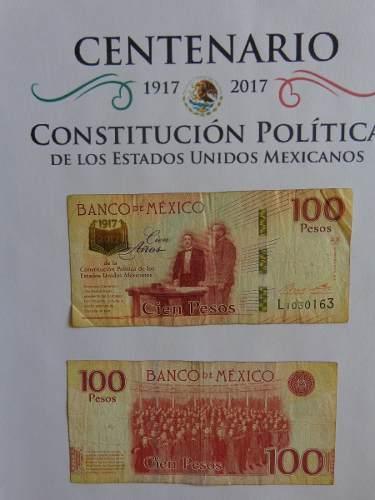 México Billete 100 Pesos Del Centenario De La