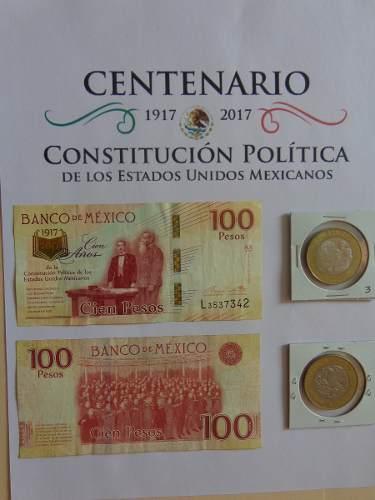 México Billete Y Moneda Del Centenario De La Constitución.