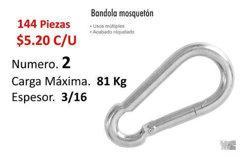 Bandola # 2 Acero 3/16' Mosqueton Clip Caja Con 144 Piezas