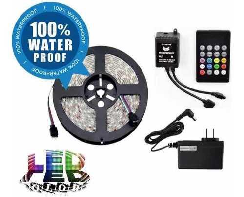 Kit Completo Tira Led Rgb Ip65 Con Controlador Audiorítmico