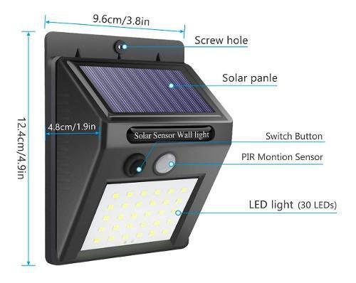 Lampara Luz Solar 30 Led Sensor Movimiento Bateria Recargabl
