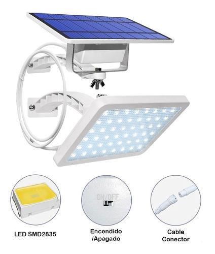 Lampara Solar 48 Leds Panel Externo Con Cable De 3 Metros