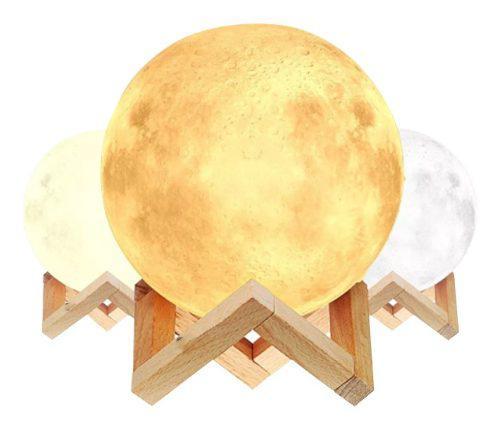 Lámpara De Luna Llena Led 14cm Diseño 3d Recargable +