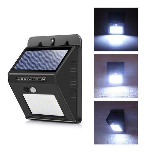 Lámpara Solar Led Exterior Con Sensor De Movimiento 20 Leds