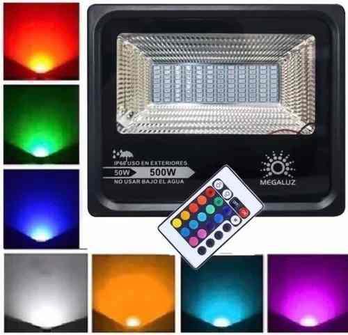 Reflector Led 50w Rgb Multicolor C/control Potencia 450w