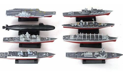 Barcos Buques Submarino Modelismo 4d Plastico Kit 8 Piezas