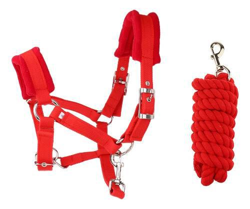 Cabezada Para Caballo Cuello Ajustable Color Rojo + Cuerda