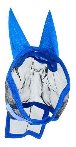 Mascara Para Caballo Cubre Moscas Con Orejas Azul