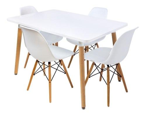 Mesa Eames 120cm Con 4 Sillas De Madera Moderna - Promo!!