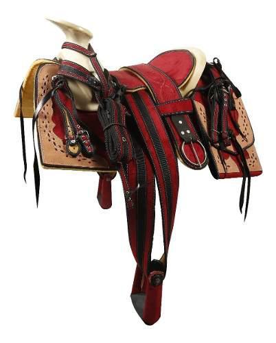 Montura Charra O Silla Para Caballo Cuadrada Rojo/vaqnat