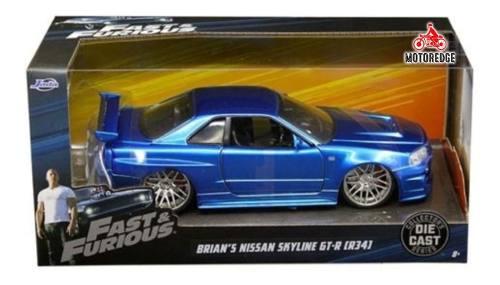 Nissan Skyline Gtr R34 Brian Azul Rapido Furioso Jada 1/24