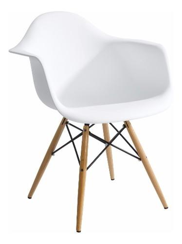 Silla De Comedor Plastico Patas De Madera Diseño Eames