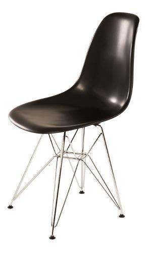 Silla Eames Eiffel Cromada Silla Moderna Negra - Buen Fin!!