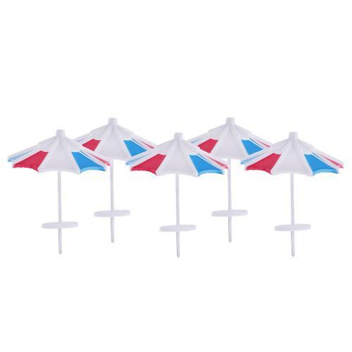 5 Piezas Rojo Y Azul Parasol Sombrilla Modelo De Tren Jardí