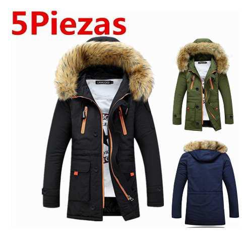 5pc Abrigo Chamarra Engrosada Con Hood Para Hombres Invierno