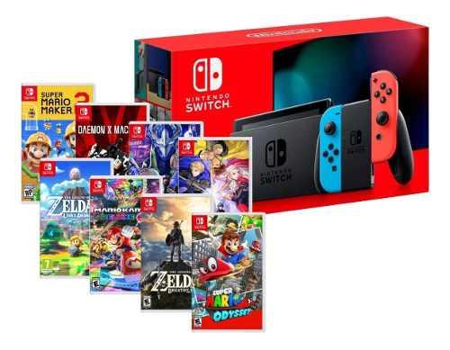 Consola Nintendo Switch - Gris O Neon + 1 Juego A Elegir