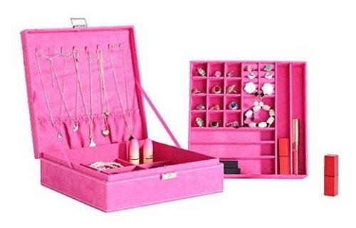 Joyero Alhajero Organizador De Joyeria Color Rosa Fuerte