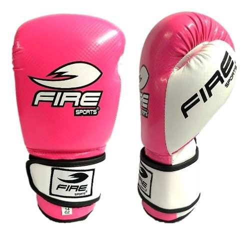 Guantes De Box Muay Thai Kick Fire Sports 12oz O 14oz Rosa