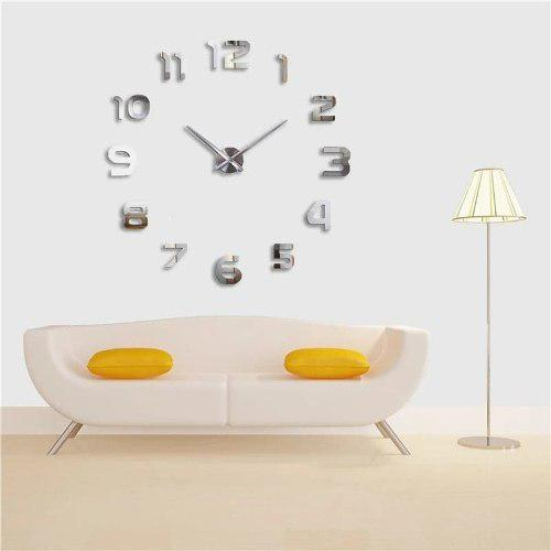Reloj 3d Pared Gde Minimalis 120 Cm Negro, Plata, Azul, Rojo