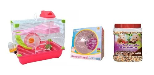 Jaula Hamster Land 35.5x24x33cm+ Esfera Sunny + 1kg Semillas