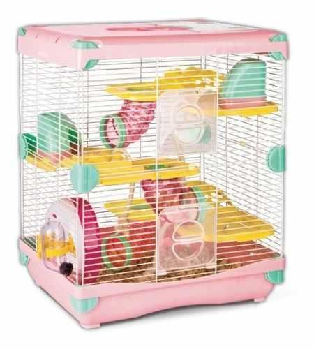 Jaula Hamster Sunny Todos Los Accesorios Rosa 36 X 27 X 42.5