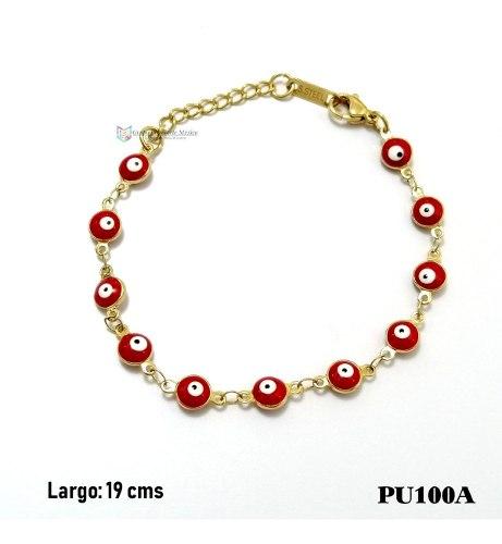 Pulsera Ojitos Rojo 6mm Acero Inoxidable Dorado