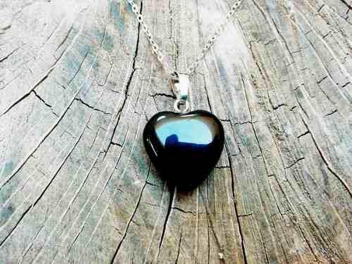 Collar Corazon Obsidiana Cuarzo Piedra Chakras Yoga Love
