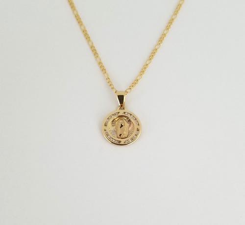 Cadena Medalla Virgen Oro Sólido 10k Bautizo- Envio Gratis!