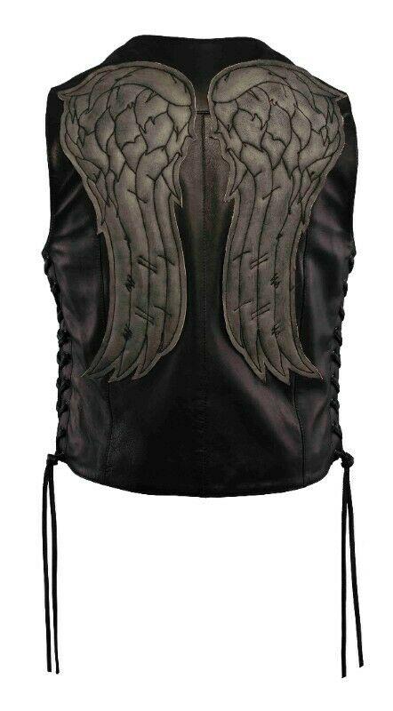 Chaleco de piel con alas acolchadas en acabado vintage