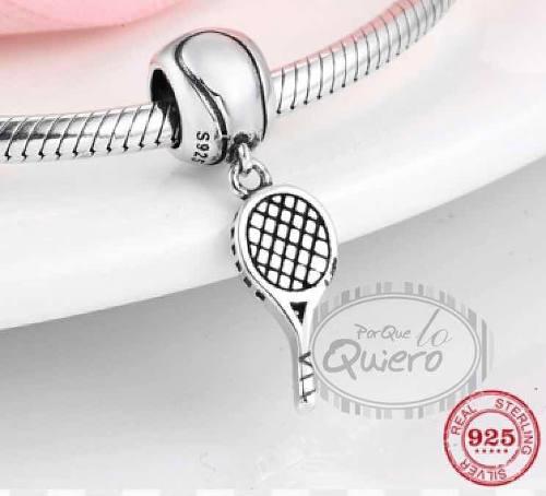 Charm 100% Plata Raqueta Tenis Deporte Compatible Pandora