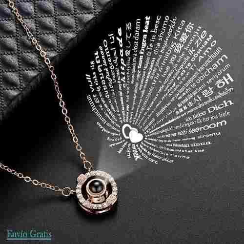 Collar Cristal Proyección Te Amo En 100 Idiomas Hermoso