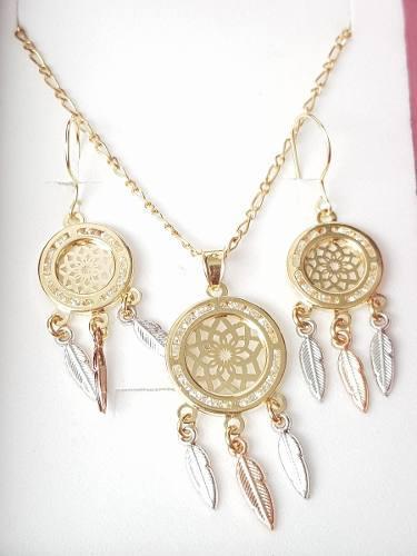 Collar De Atrapasueños Con Aretes Oro Lam. Y Envio Gratis