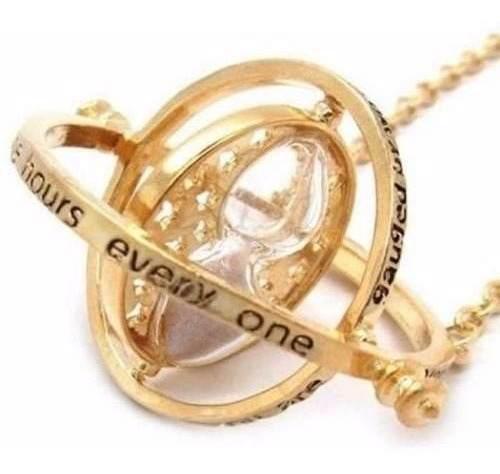 Collar Dije Giratiempo Hermione Chapa Oro