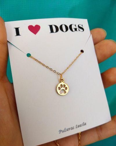 Collar Huella Perro Mascota Cadena Chapa Oro 22k Regalo Pet