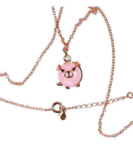 Collar Mini Pig Dije Cerdito Cadena Rosa Inoxidable Kawaii