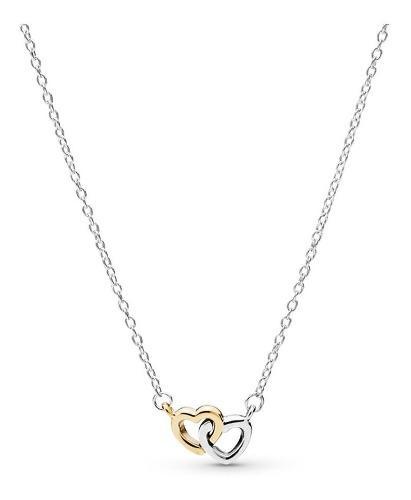 Collar Pandora Unidos En Amor Plata S925 Y Oro 14k