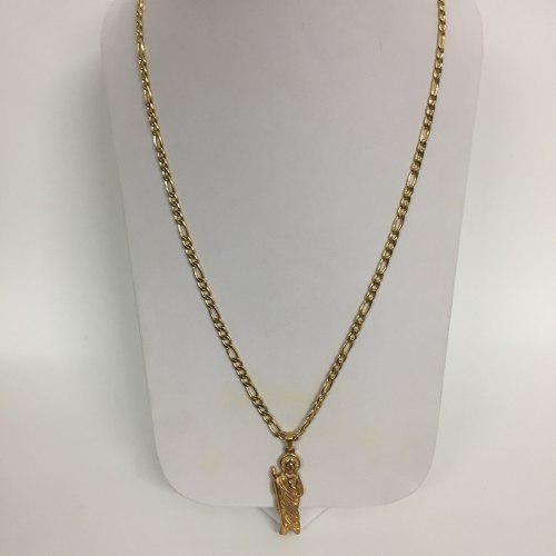 Collar San Judas Tadeo Caballero Figaro Acero Inox Color Oro