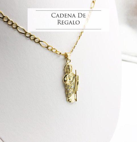 Dije San Judas Tadeo Oro De 10k + Cadena De Regalo