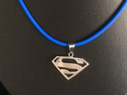 Dije Superman Collar Caucho Azul Plata Ley 925 Taxco