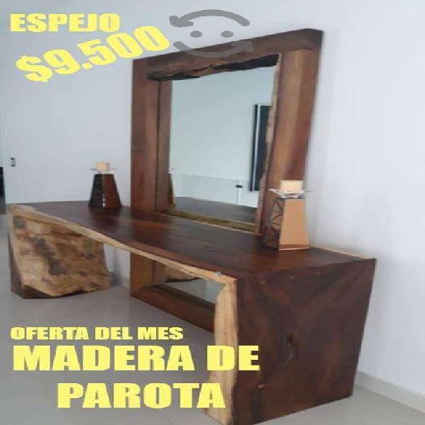 Espejo en madera de parota