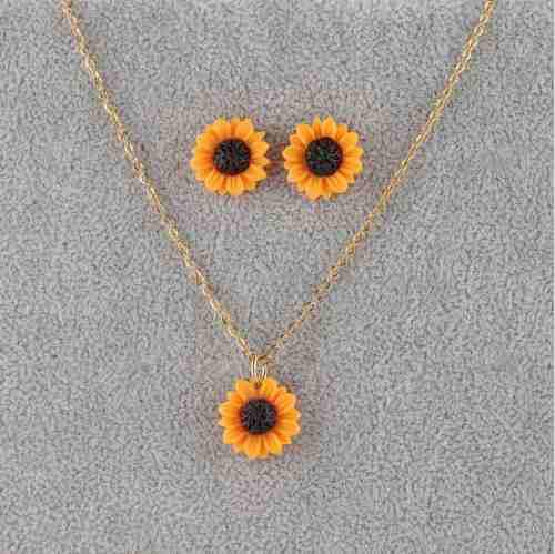 Hermoso Collar + Aretes Girasol Acero Inoxidable Set Dije