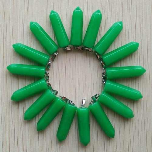 Jade Malayo Natural Péndulo Pilar Dije Unisex 32mmx10mm
