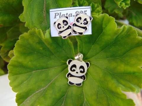 Juego Panda Plata 925