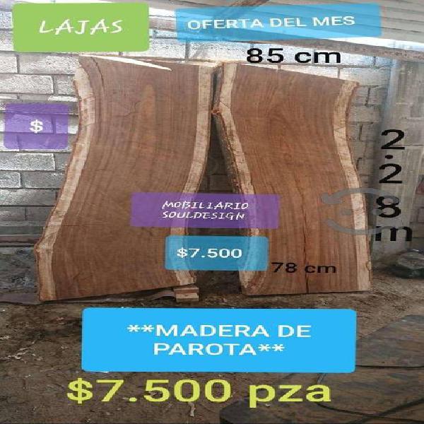 Laja de madera de parota en bruto o al natural