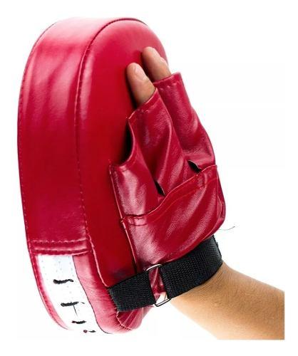 Manopla Cachagolpes Piel Sintetica Karate Box Mma Rojo D