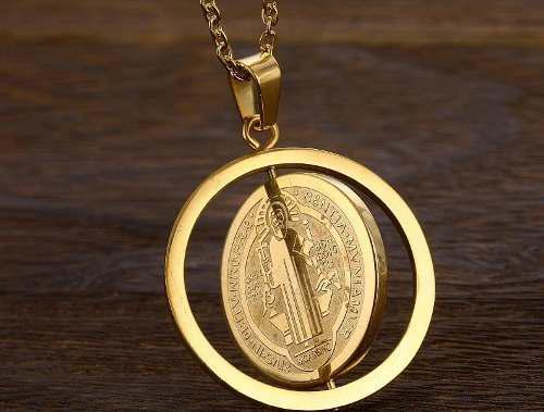Medalla San Benito Collar Laminado Oro Envío Gratis